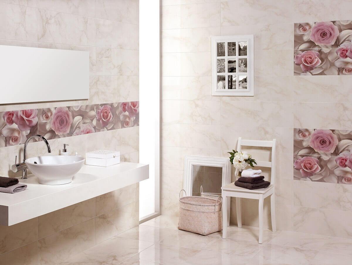 Плитка в ванну фото цветы