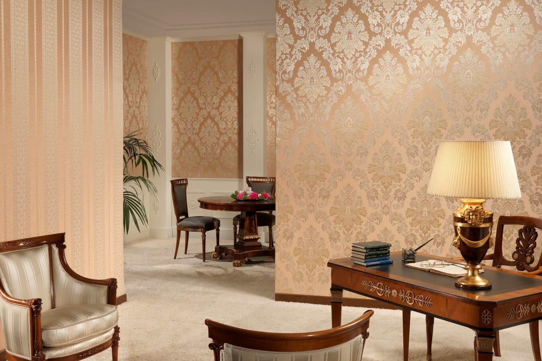 Дизайн стен зала обоями фото